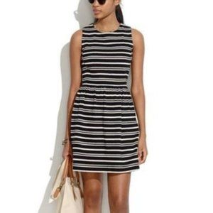 MADEWELL Afternoon Dress Textured Stripe M Black
